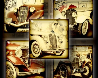 Old Car - 1x1 inch and scrabble tiles - Digital Collage Sheet CG-594 for Jewelry, Crafts
