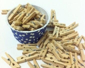 Wooden Clothes Pins - Tiny Clothes Pins - 30 pcs - Natural Clothespins - Unfinished Wooden Clothespins