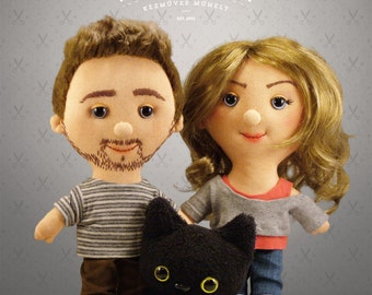 Unique Custom doll couple+kitten -  Selfie doll,  character doll, rag doll, art doll, personalized doll