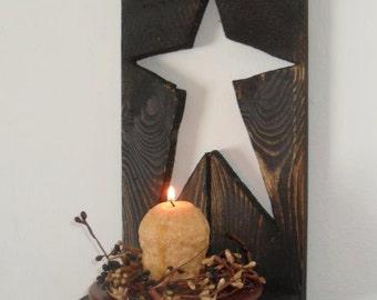 Primitive Star Shutter Shelf Candle Sconce