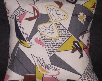 Mid Century Atomic Pillow Cover 1950's Barkcloth Retro Eames Era Sputnik Pillow