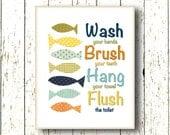 Wash Brush Hang Flush - Blue navy green yellow orange Bathroom Art for children - Fish ocean sea - Kids wall art 8x10 or 11x14 and larger