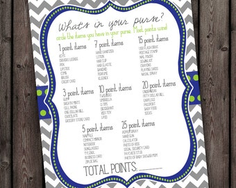 Baby shower, purse game, instant dowload, blue and green and gray