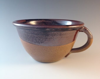 Stoneware Chowder Bowl in Pete's Black and Earthtone glazes pottery soup bowl with handle