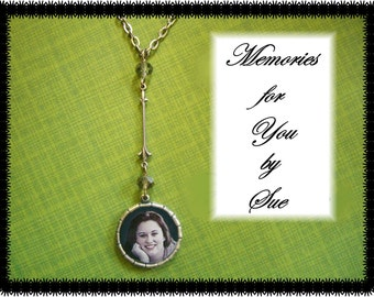 Custom - Personalized Round Double Sided  Silver Photo Necklace - Memorial- Keepsake - Pendant