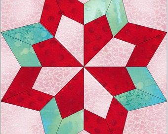 Double Star Paper Template Quilting Block Pattern PDF
