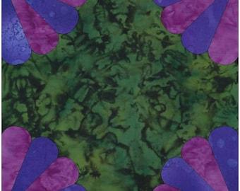 4 Fans 4 Petals Paper Piece Template Quilting Block Pattern PDF