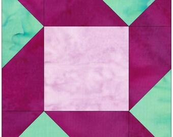 Churn Dash Star Paper Piece Foundation Quilting Block Pattern