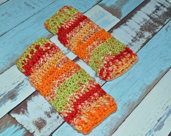 Fingerless Gloves - Orange, Red, and Green - Crochet