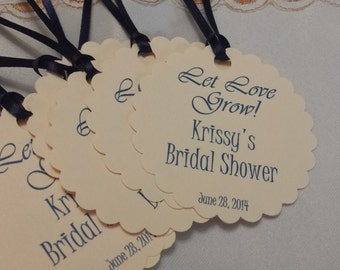 Personalized Bridal  Shower Favor Tags 2 1/2'', Wedding tags, Bridal Shower Favor Tags, Thank You Favor tags, tag, let love grow