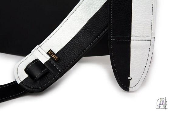 black and white leather guitar strap half note. Black Bedroom Furniture Sets. Home Design Ideas