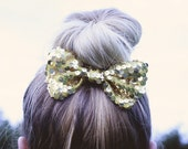 Happy Birthday Gold Sequin Hair Bow