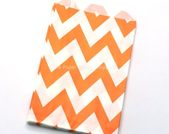 Chevron Favor Bags 12 Orange Chevron Gift Bags, Popcorn Bags, Cookie Bag, Candy Buffet Bags, Candy Bag, Wedding, Baby Shower, Birthday Favor
