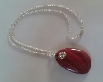 Red Ghost's Eye Jasper Pendant Necklace with Sterling Silver Chain and Sterling Silver Lobster Claw Clasp