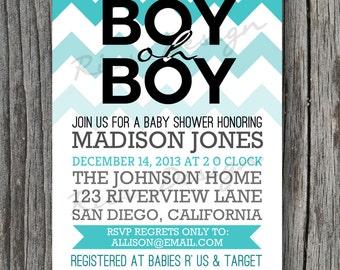 Boy oh Boy Baby Shower Invitation - Digital printable / birthday invitation