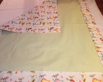 Colorful Birds on Branches Cotton Print Flannel baby blanket