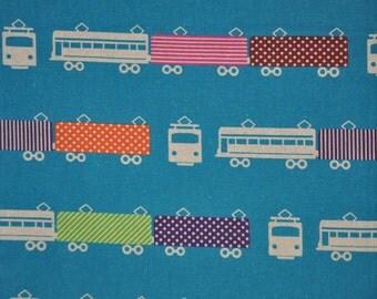 BTHY Echino Aqua Blue Train - Etsuko Furuya - Cotton Linen Fabric