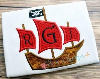 Pirate Ship Monogram Digital Machine Embroidery Applique Design 4 sizes, ship applique, boat applique, monogram boat applique