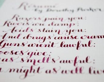 resume a dorothy poem original calligraphy artwork