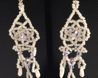 Lavender in the Snow netted earrings