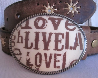 belt buckles Live Love  bohemian belt buckle women's belt buckle mens belt buckle country western cowgirl gypsy resin  belt buckle