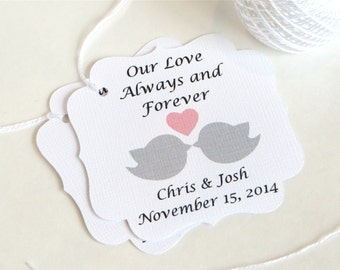 Love Birds Personalized wedding favor tags, Love Birds custom wedding tags, Love Birds Wedding gift tag