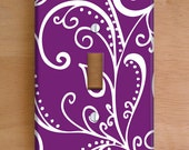Silent Era, Violet Vinyl Light Switch Cover, Outlet Cover, Wallplate, Home Decor, Swirls, Purple and White, Purple Home Decor, Swirls