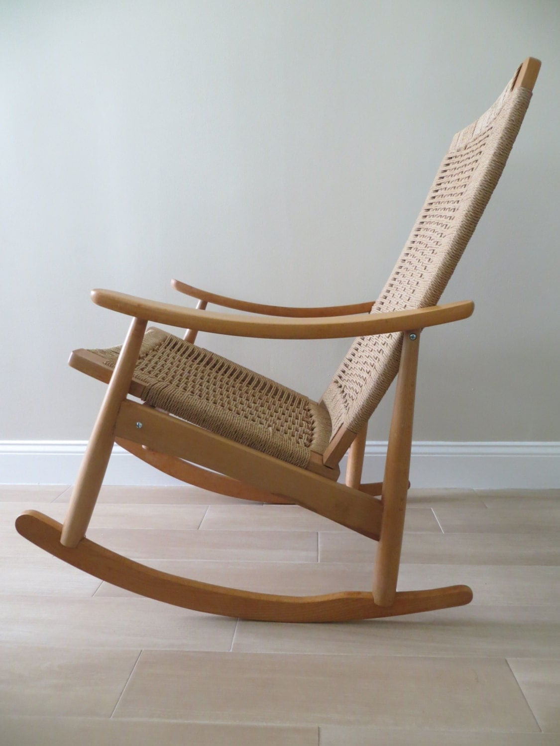 reserved mid century modern danish rope rocking chair hans. Black Bedroom Furniture Sets. Home Design Ideas