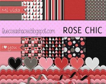 Digital Scrapbook Kit Rose Chic