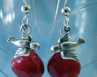 Earrings Jewelry Bird Sparrow Silver Red