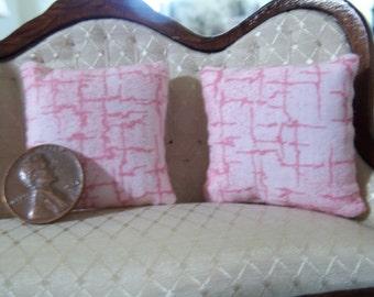 Set of 2 pink dollhouse pillows
