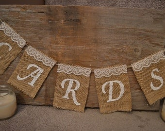 Customizable Large Burlap Card Sign, Wedding Cards Sign