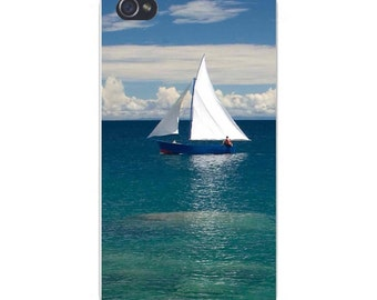 Apple iPhone Custom Case White Plastic Snap on - Sailboat on Clear Water Ocean w/ Clouds 8258
