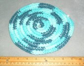 Crocheted Trivet, Cotton Yarn crocheted around clothesline rope, Hot Pad