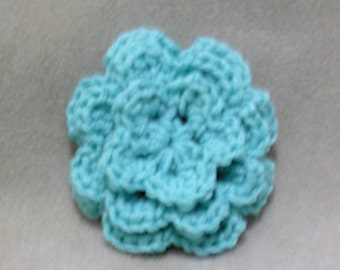 Aqua Crochet Flower Hair Clip