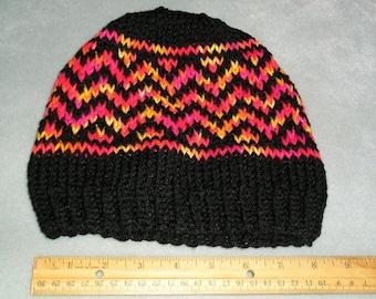 Black and multi Red/Orange/Yellow Fair Isle Hat, warm winter hat