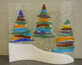 Holiday Trees - standing fused glass display