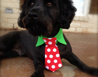 Custom Made Dog Shirt Collar with Tie - Velcro Closure - Christmas Dots