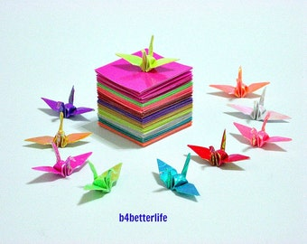 "Lot of 180 Sheets of 1-inch Origami Crane Paper Folding Kit In Assorted Colors. 1"" x 1"". (AV paper series)."