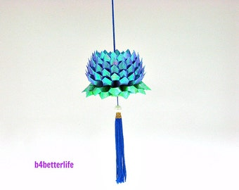 A Piece of Medium Size Dark Blue Origami Hanging Lotus. (TX paper series).