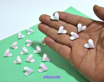 100pcs White Color Mini Size 3D Origami Hearts LOVE. (TX paper series). #FOH-140.