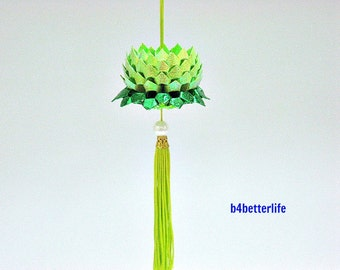 A Piece of Mini Size Lime Green Color origami Hanging Lotus. (RS paper series).