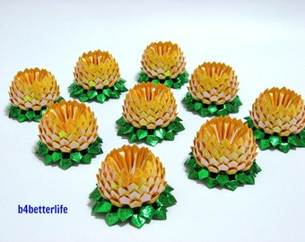 Lot of 9pcs Yellow Color Mini Size Origami Lotus. (TX paper series). #FLT-73.