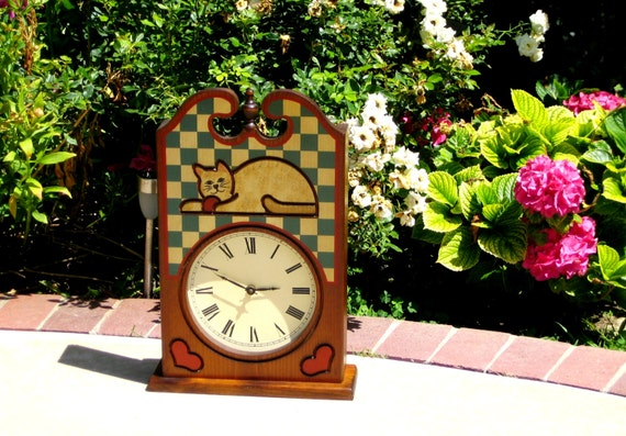 KITTY CAT Clock Vintage Wood Country Kitchen By