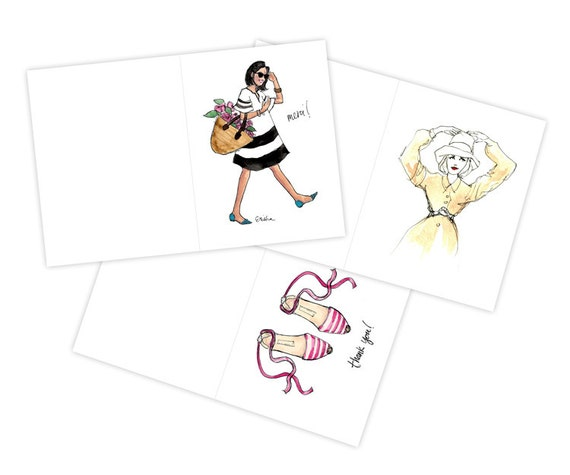 Spring Has Sprung! Assorted Set of Illustrated Folded Cards