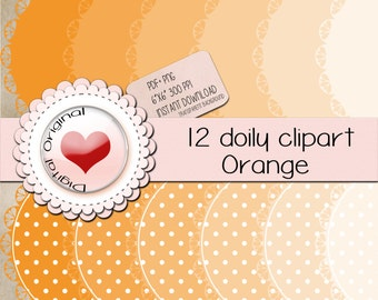 """12 Orange doily labels.12PNG(clipart) with transparent background.+12pdf sheetsJPG.High quality, 6""""x6"""" (576x576pixels) 300 PPP."""