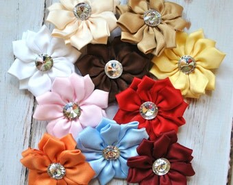 "8 pc Assorted Rhinestone centered Satin Flowers - 2.75"" inch size - satin ribbon flowers with rhinestone - satin layer flower"
