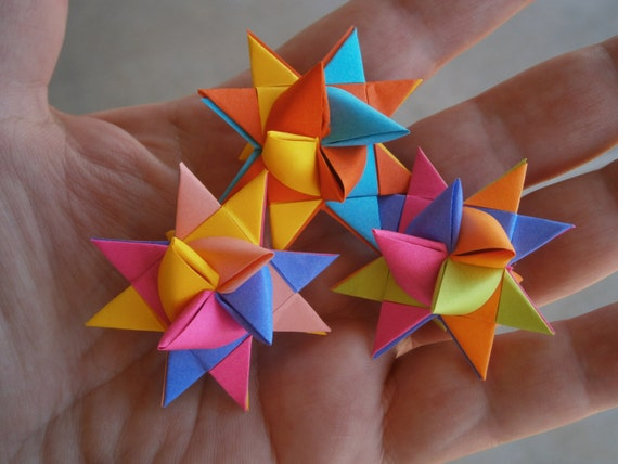 Paper stars ornaments holiday decor 3d origami by placeforyou for 3d star decoration