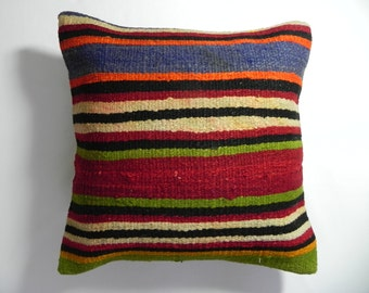 "kilim, pillows, kilim pillow, coverscushion, cover, accent pillow,Wool Turkish Kilim Pillow Cover,16""x16"",Decorative Kilim Pillow,Kilim"