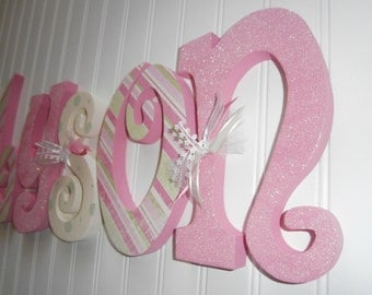 Nursery letters, Nursery wall hanging letters, nursery decor, pink, cream, green, nursery wall letters
